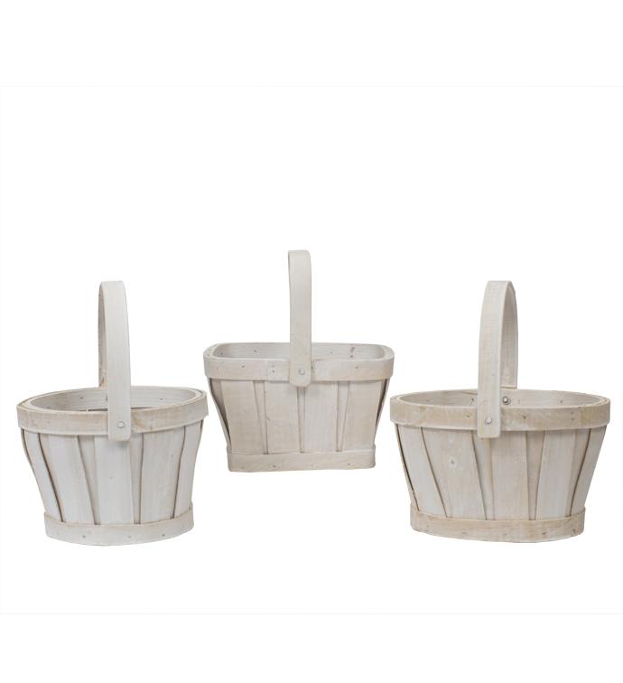 "6"" White Wash Basket, 3 Assorted"