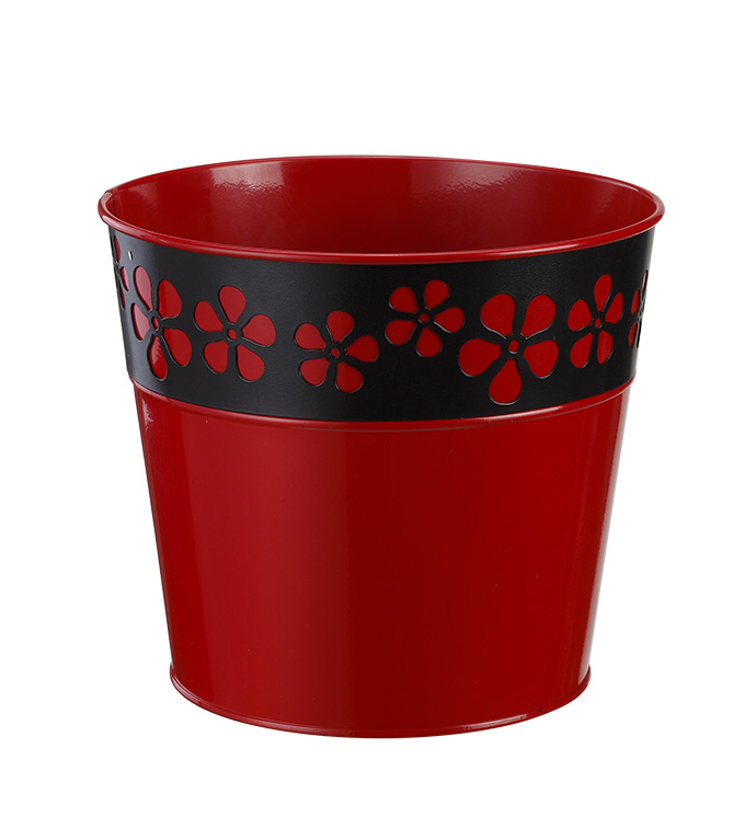 "6.5"" Red and Black Daisy Pot Cover"