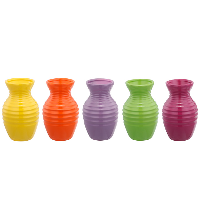Ribbed Flower Power Bud Vase, 5 Ass