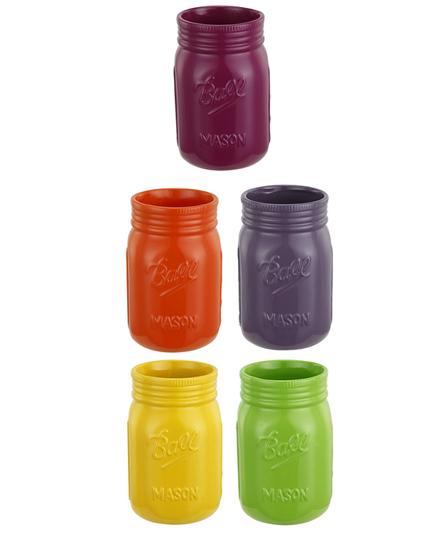 Flower Power Mason Vase, 5 Assorted