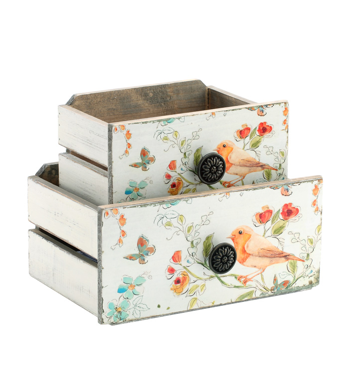 Drawer Planters with Bird, Set of 2