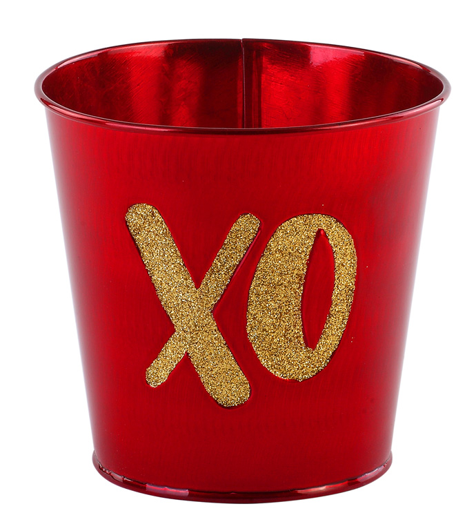"5"" Iridescent Red 'XO' Pot Cover"