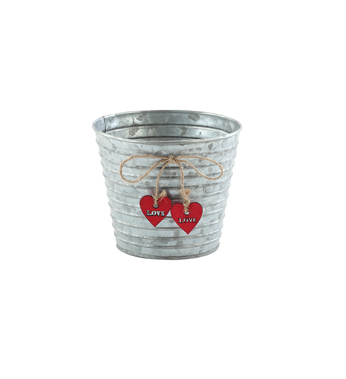 "5"" Galvanized Pot with Hearts"