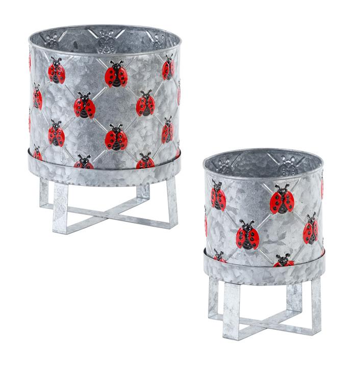 Ladybug Cylinder Pot on Stand, Set