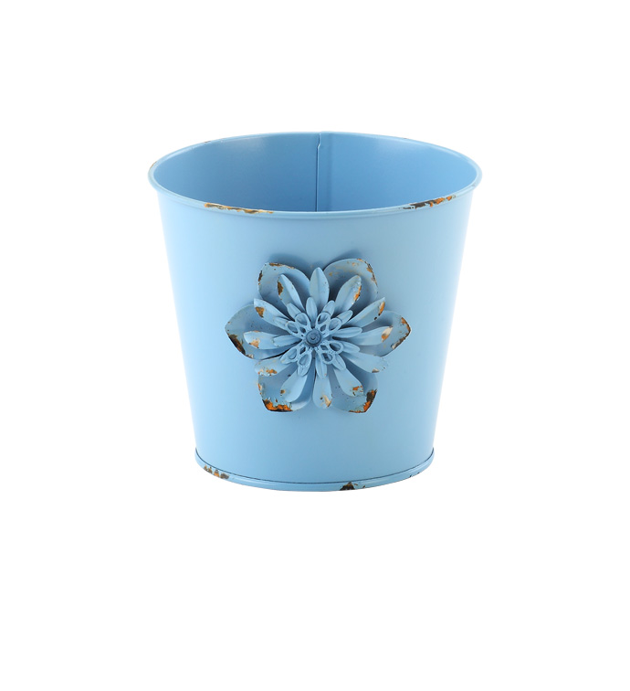 "5"" Blue Pot Cover with Flower"