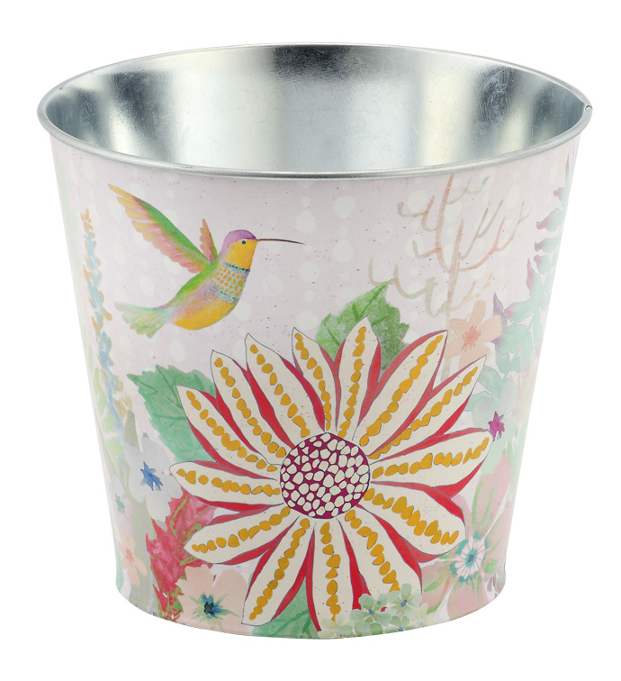 "6.5"" Daisy/Bird Decal Pot Cover"