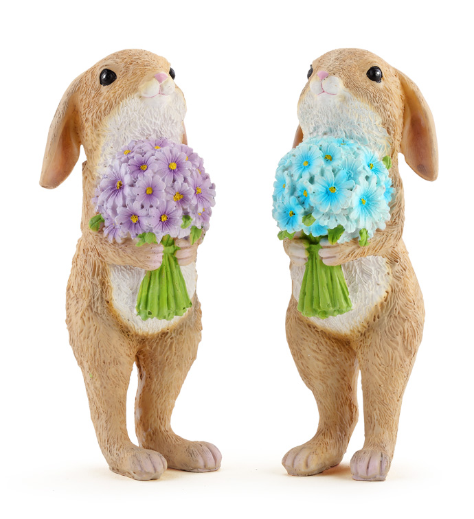 Bunnies with Bouquets, 2 Assorted