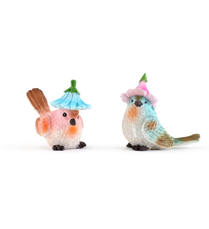 Small Bird w/ Hat, 2 Assorted