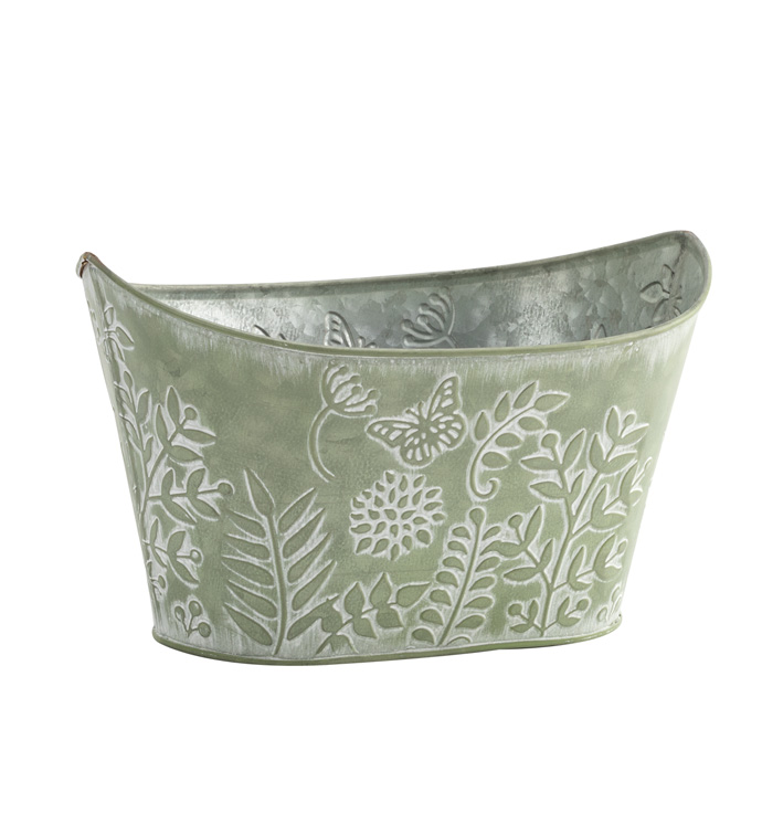 Fern Embossed Oval Planter