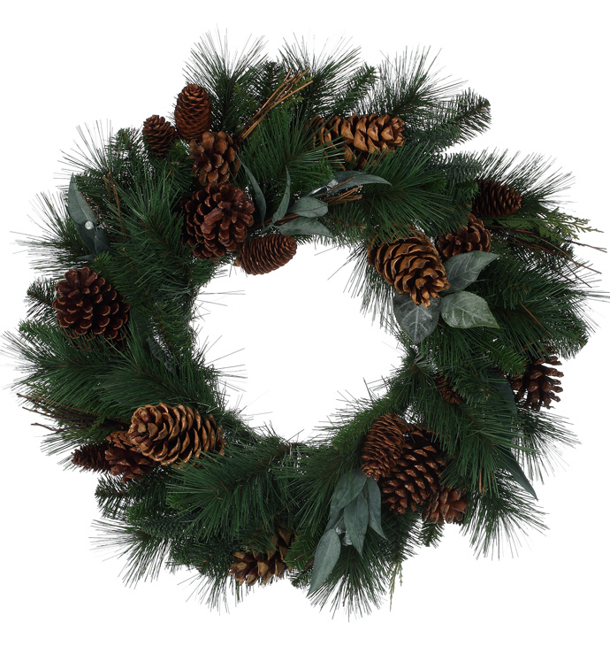 Deluxe Pine/Leaf/Pine Cone Wreath