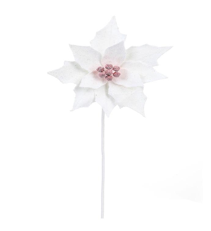 White Jingle Bell Poinsettia Stem