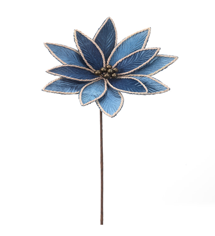 Blue Poinsettia Stem with Bells