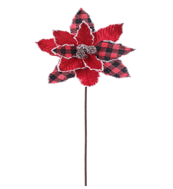 Buffalo Plaid Poinsettia Stem with