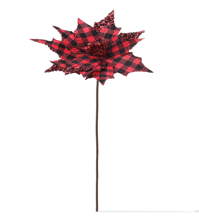 Buffalo Plaid Poinsettia Stem