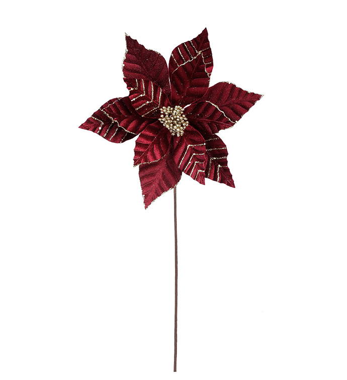 Burgundy Velvet Poinsettia Stem
