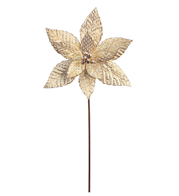 Gold Brocade Poinsettia Stem