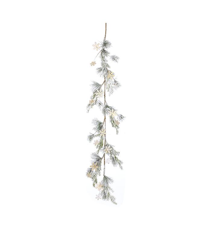 Wooden Snowflake Pine Garland