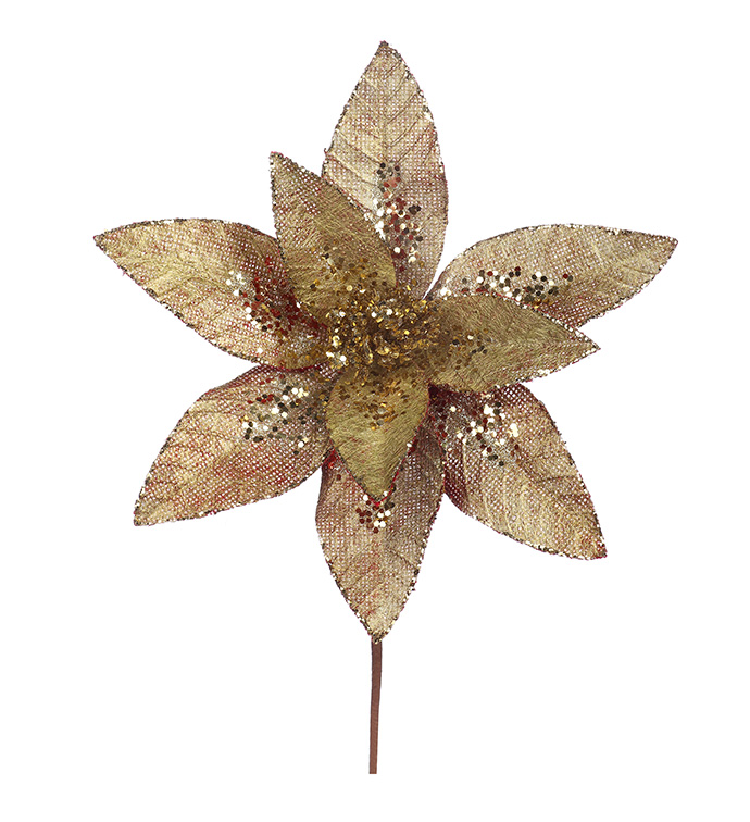 Gold Poinsettia Stem with Glitter