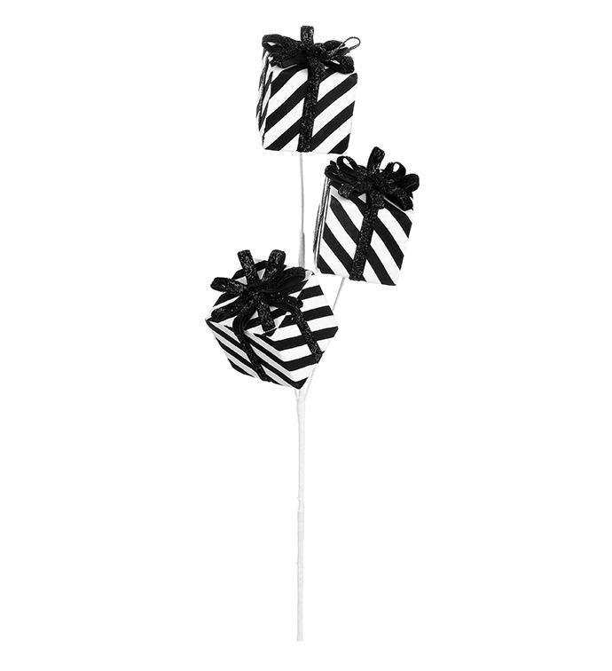 Black/White Stripe Present Pick x 3