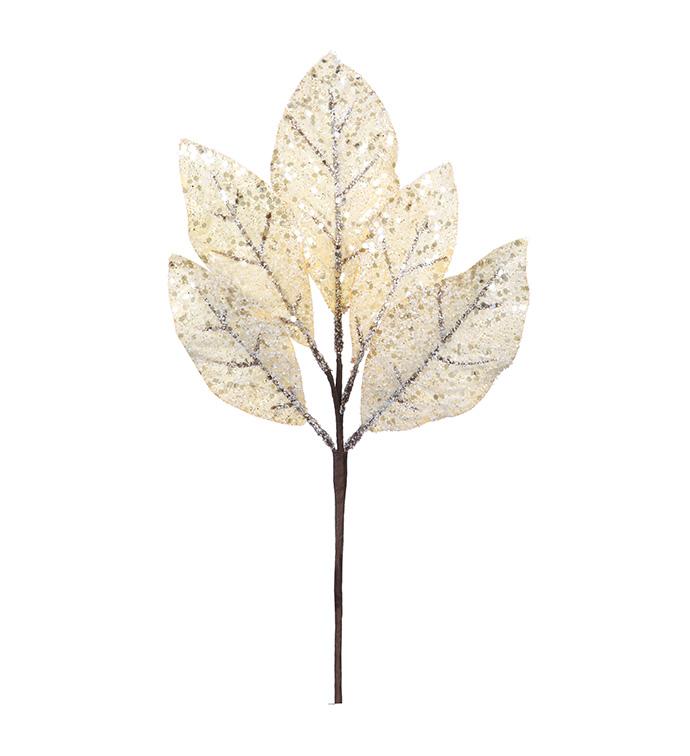 Champagne Glitter Leaf Pick