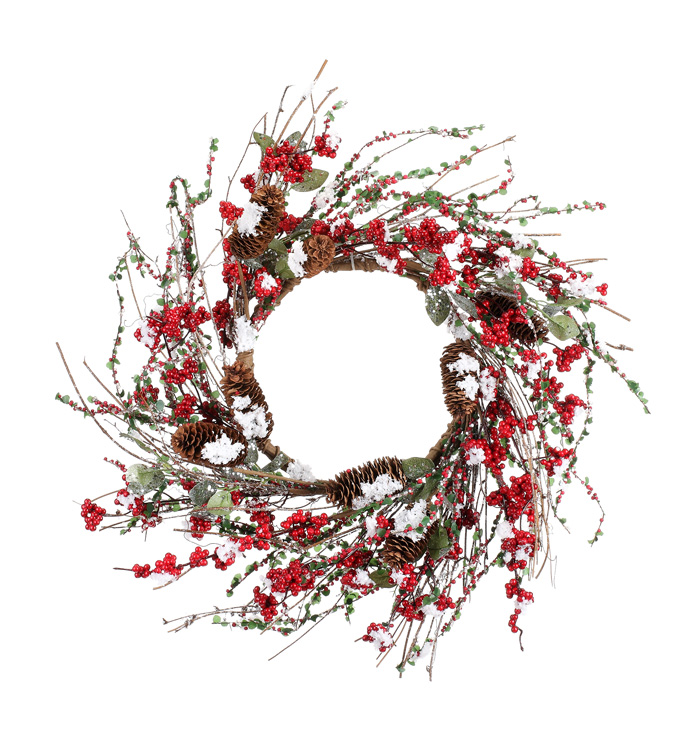 Snowy Pine Cone Berry Wreath