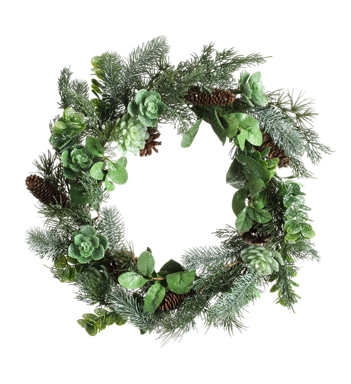 Shimmer Pine/Succulent Wreath