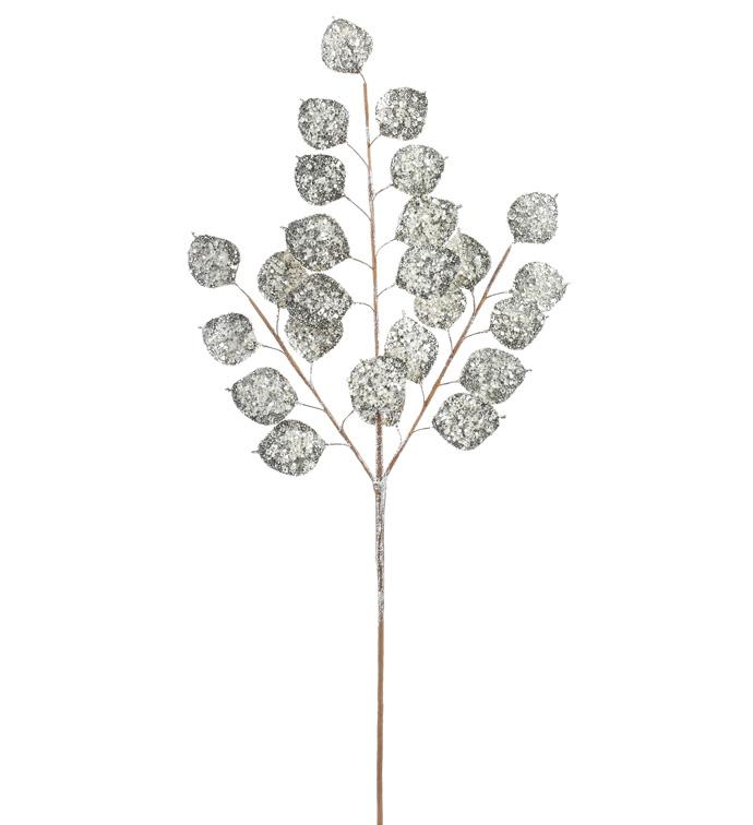 Silver Glitter Eucalyptus Stem