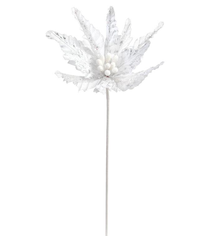 White Silver Glitter Poinsettia Ste