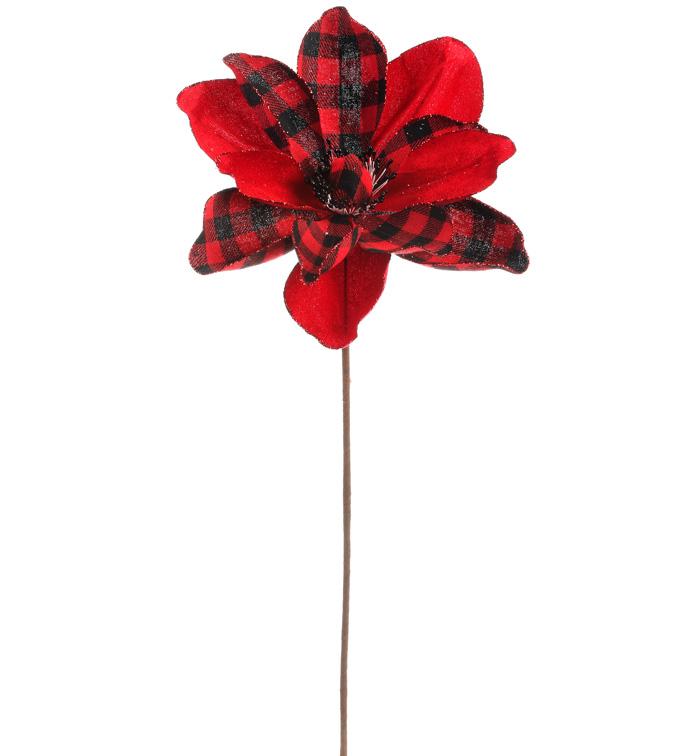 Red/Plaid Magnolia Stem