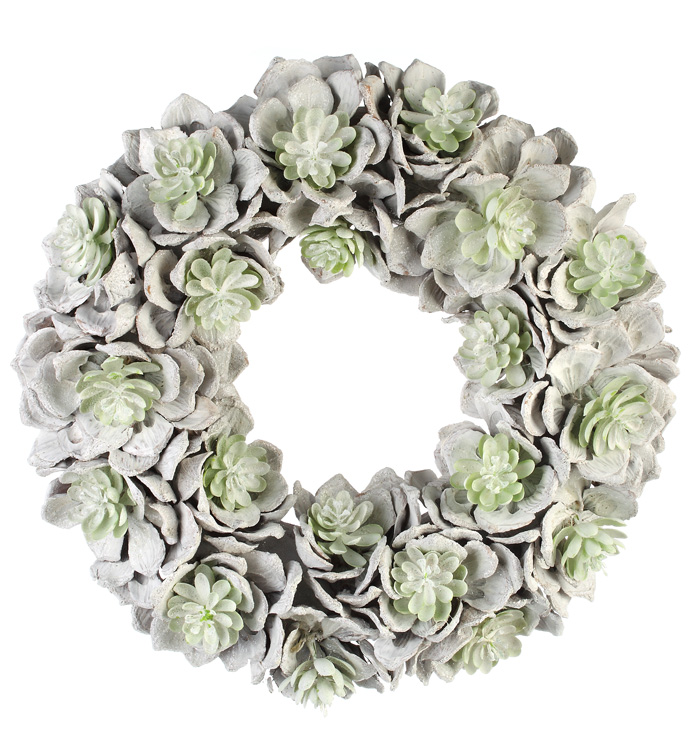 Large Frosted Succulent Wreath