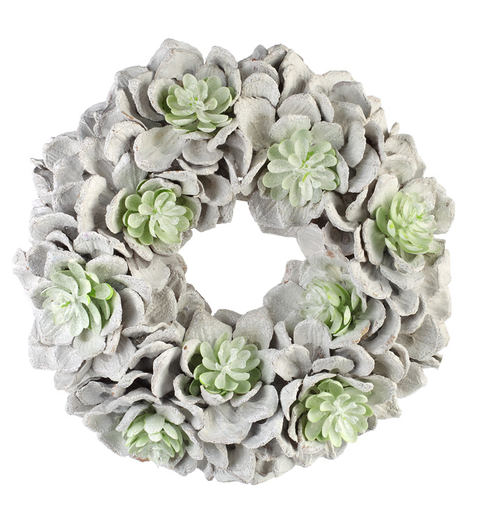 Small Frosted Succulent Wreath