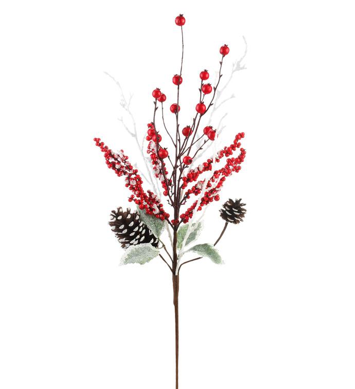 Snowy Red Berry/Cone Spray