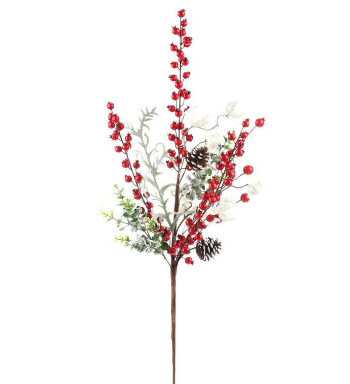 Snowy Red Berry/Cone Mix Spray