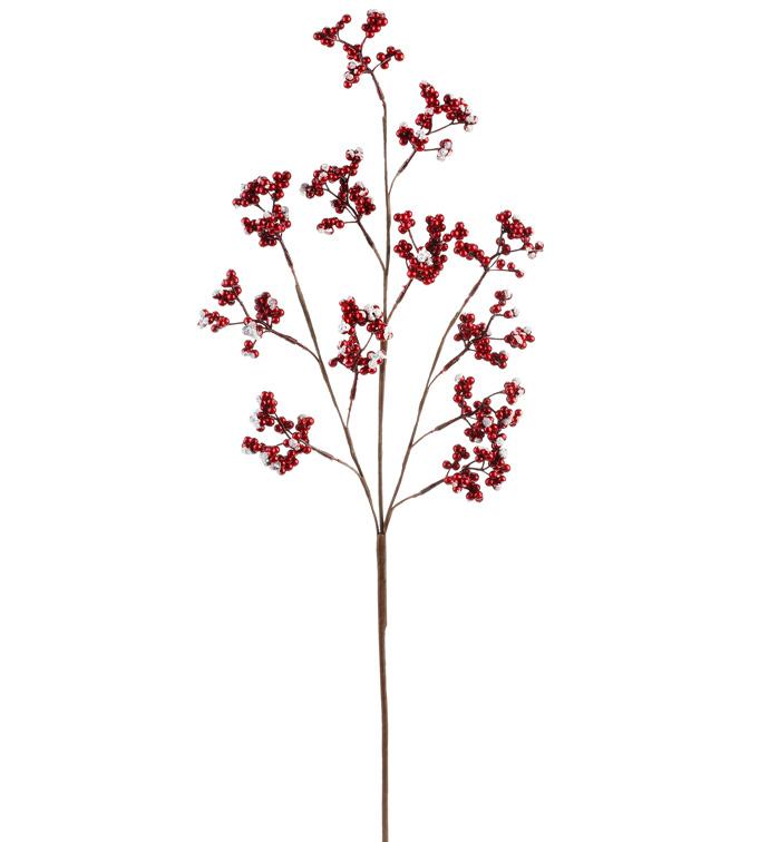 Metallic Cranberry Snow Berry Spray