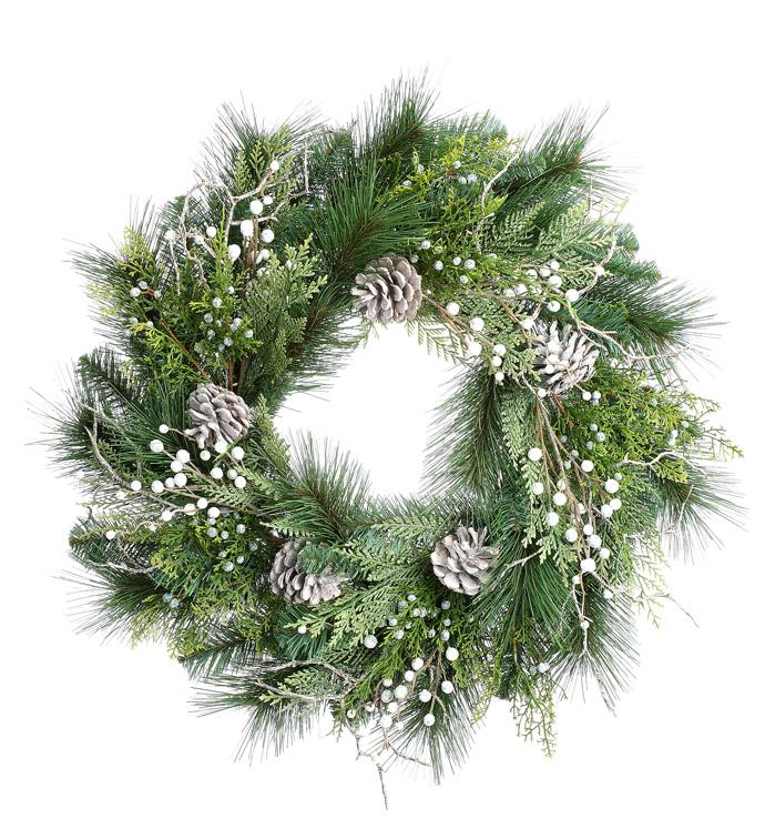 White Juniper Pine/Berry Wreath