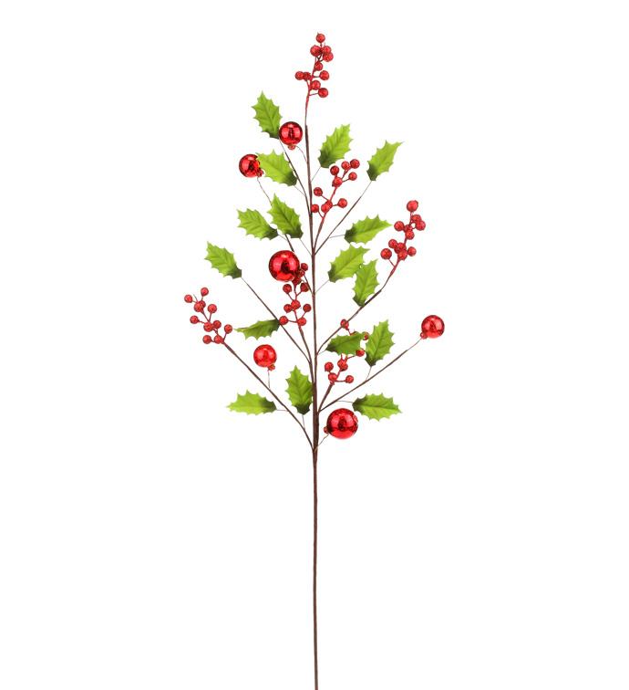 Red Berry Holly/Ornament Spray