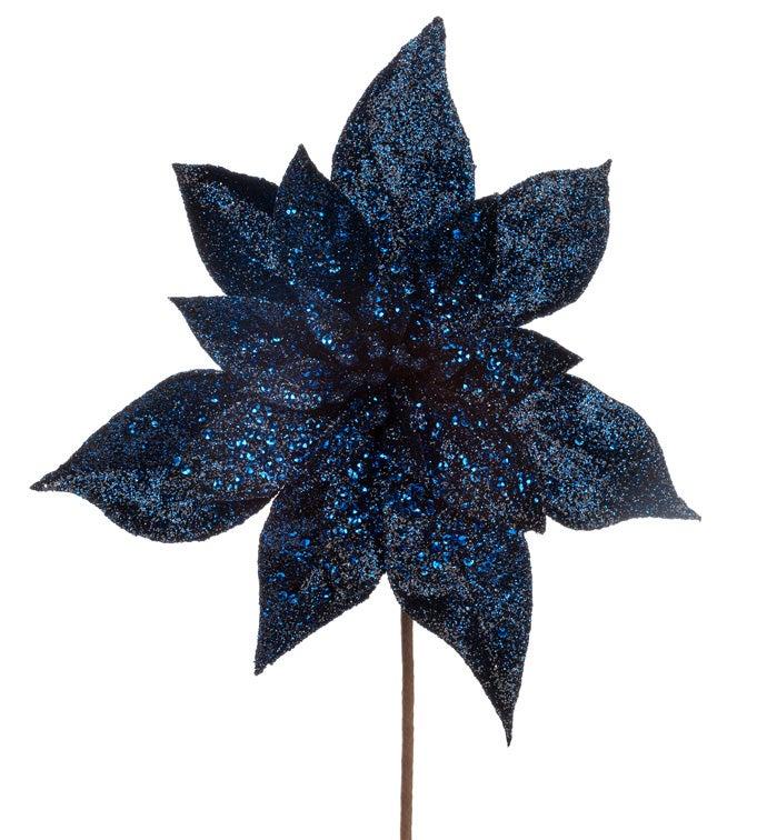 Navy Blue Sequin Poinsettia