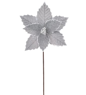 Silver Embossed Poinsettia