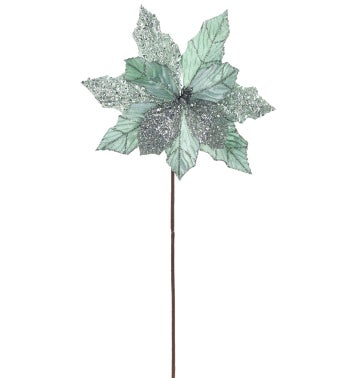 Sage Green Embossed Poinsettia