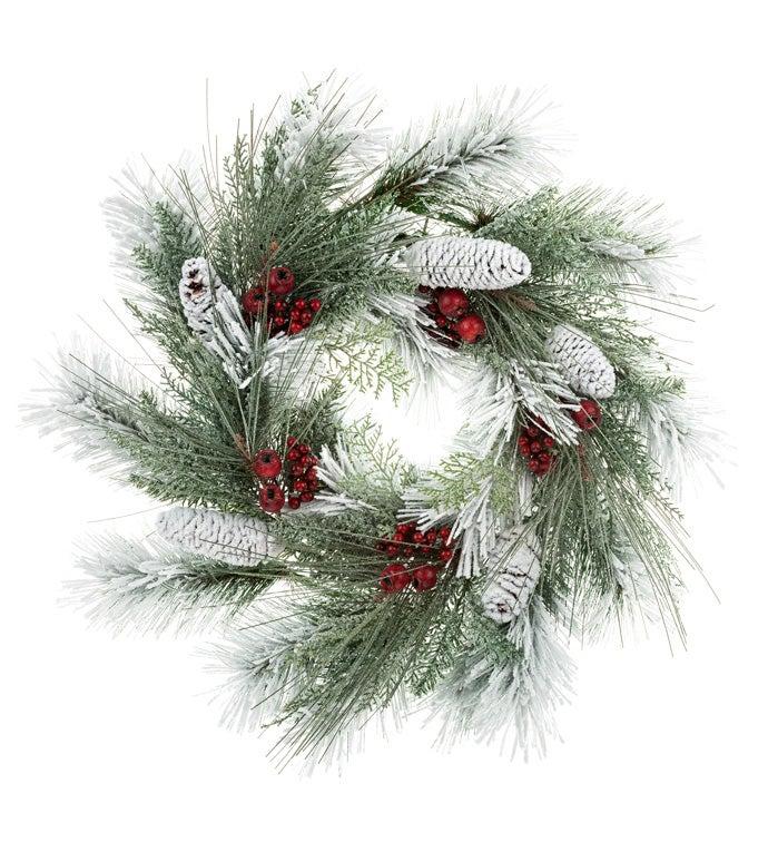 Snowy Cranberry Pine Wreath