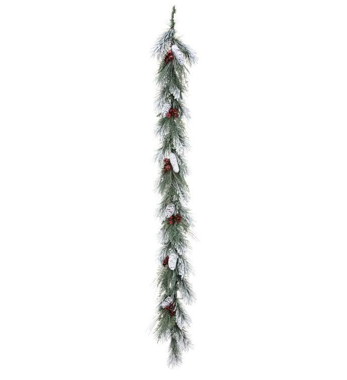 Snowy Cranberry Pine Garland