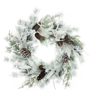 Frosted Laurel Pine Wreath