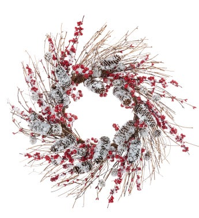Snowy Berry/Pine Cone Wreath