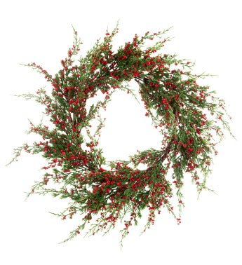 Ming Pine/Red Berry Wreath