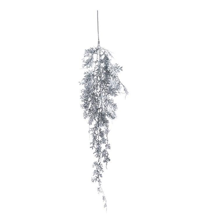 Silver Glitter Hanging Bush