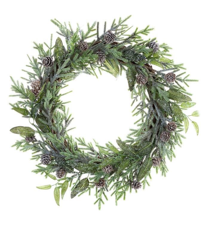 Snowy Fir/Pine Cones Wreath