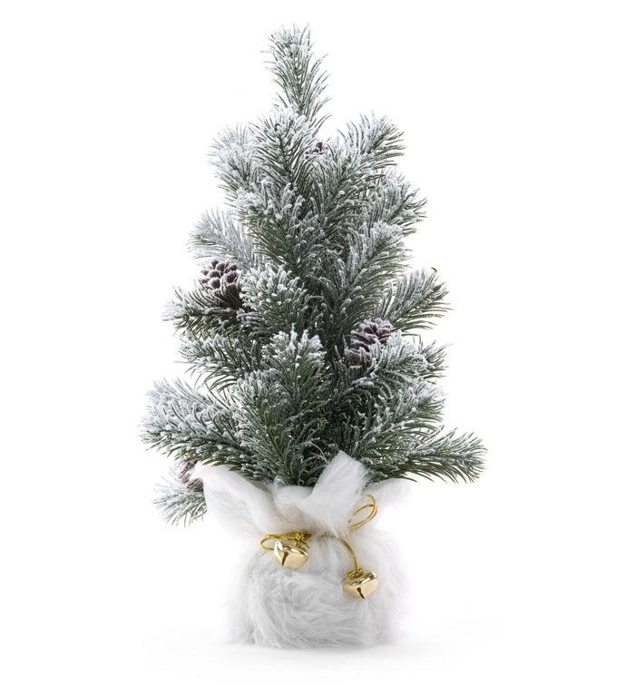 Snow Pine Tree with Fur Bag