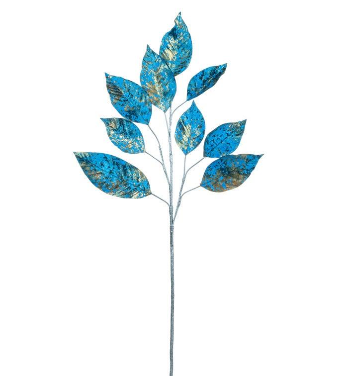 Metallic Blue Lemon Leaf Branch