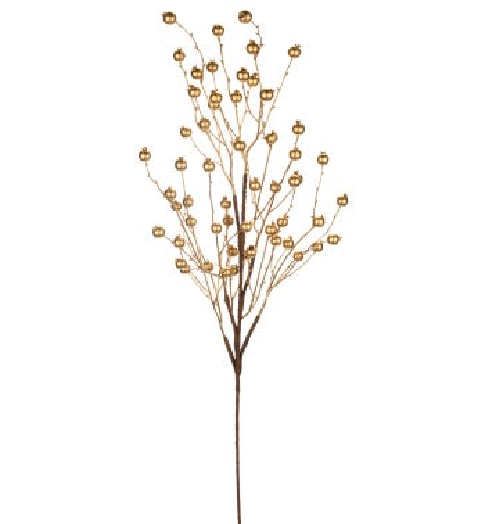 Gold Metallic Berry Branch