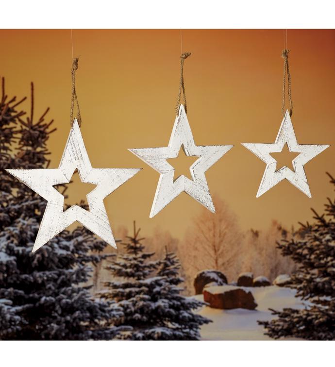 White Wash Star Ornaments, Set of 3